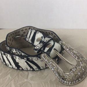 Genuine Leather Western Bedazzled Zebra Print Belt